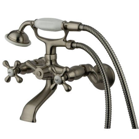 Kingston Brass KS265SN Kingston Tub Wall Mount Clawfoot Tub Faucet with Hand Shower, Brushed Nickel