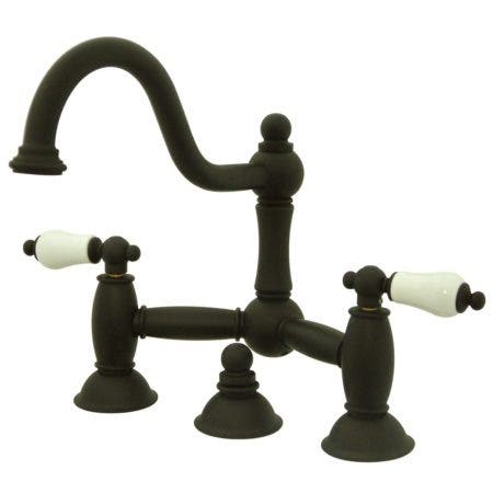 Kingston Brass KS3915PL Restoration Bathroom Bridge Faucet, Oil Rubbed Bronze