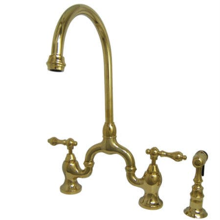 Kingston Brass KS7792ALBS English Country Kitchen Bridge Faucet with Brass Sprayer, Polished Brass
