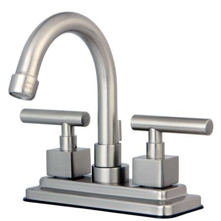 Kingston Brass KS8668CQL Claremont 4 in. Centerset Bathroom Faucet with Brass Pop-Up, Brushed Nickel