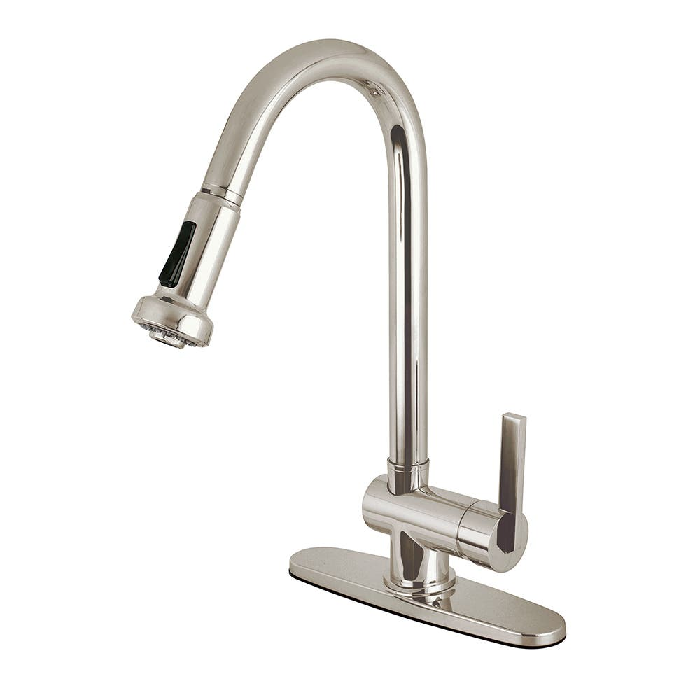 Kingston Brass KS8888CTL Continental Single Handle Pull Down Spray Kitchen Faucet, Brushed Nickel