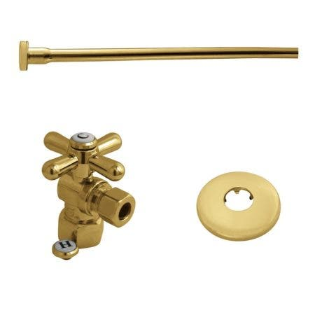 "Kingston Brass KTK102P Toilet Supply Kit, 1/2"" IPS (Iron Pipe Size) Inlet - 3/8"" Outlet, Polished Brass"