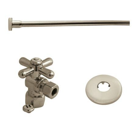 "Kingston Brass KTK108P Toilet Supply Kit, 1/2"" IPS (Iron Pipe Size) Inlet - 3/8"" Outlet, Brushed Nickel"