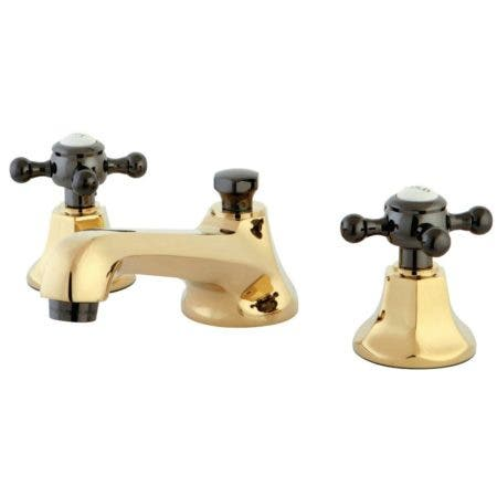 Kingston Brass NS4466BX 8 in. Widespread Bathroom Faucet, Polished Brass/Black Stainless Steel