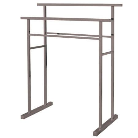 Kingston Brass SCC8248 Pedestal Steel Construction Towel Rack, Brushed Nickel