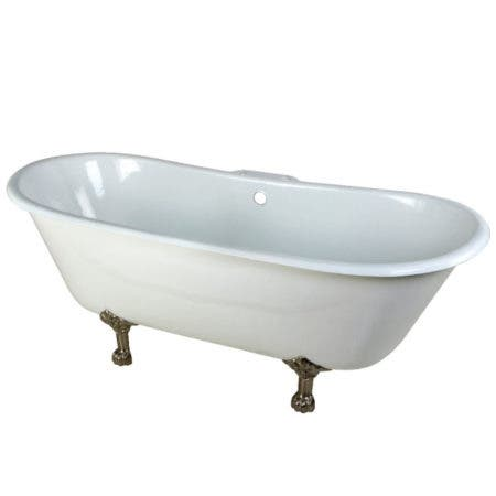 Aqua Eden VCT7D6728NH8 67-Inch Cast Iron Double Slipper Clawfoot Tub with 3-3/8 Inch Wall Drillings, White/Brushed Nickel