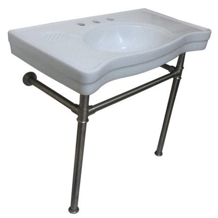 Kingston Brass VPB1368ST Imperial Ceramic Console Sink with Stainless Steel Legs, White/Brushed Nickel