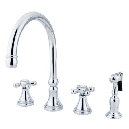 Kingston Brass KS2791AXBS Widespread Kitchen Faucet, Polished Chrome