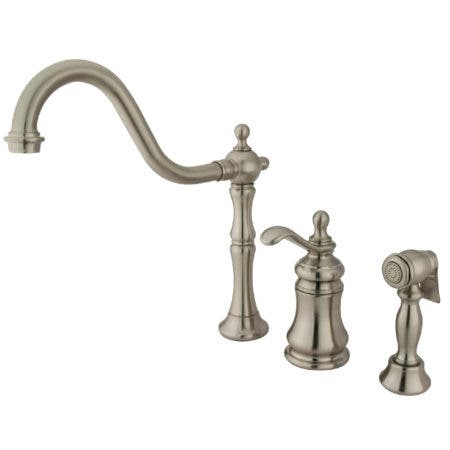 Kingston Brass KS7808TPLBS Templeton Single-Handle Widespread Kitchen Faucet with Brass Sprayer, Brushed Nickel