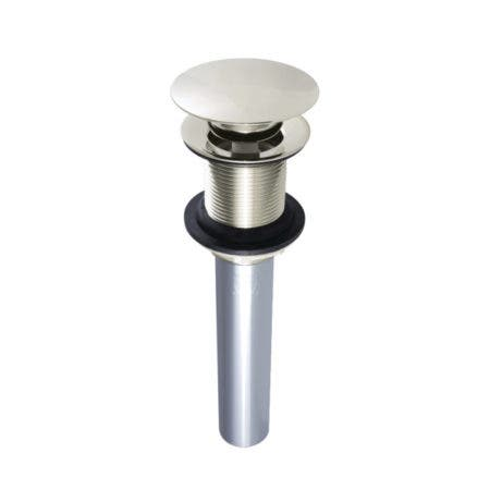 Kingston Brass EV7006 Push Pop-Up Drain without Overflow Hole, 22 Gauge, Polished Nickel