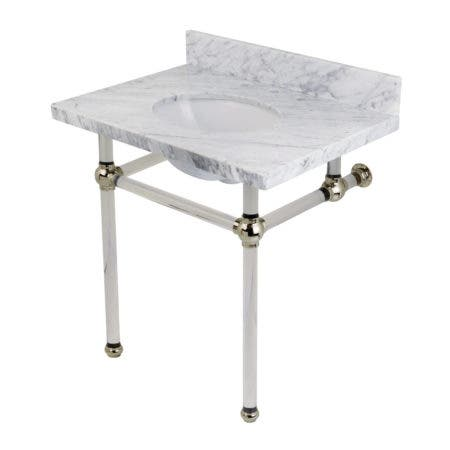 "Kingston Brass KVPB3030MA6 Templeton 30"" x 22"" Carrara Marble Vanity Top with Clear Acrylic Console Legs, Carrara Marble/Polished Nickel"