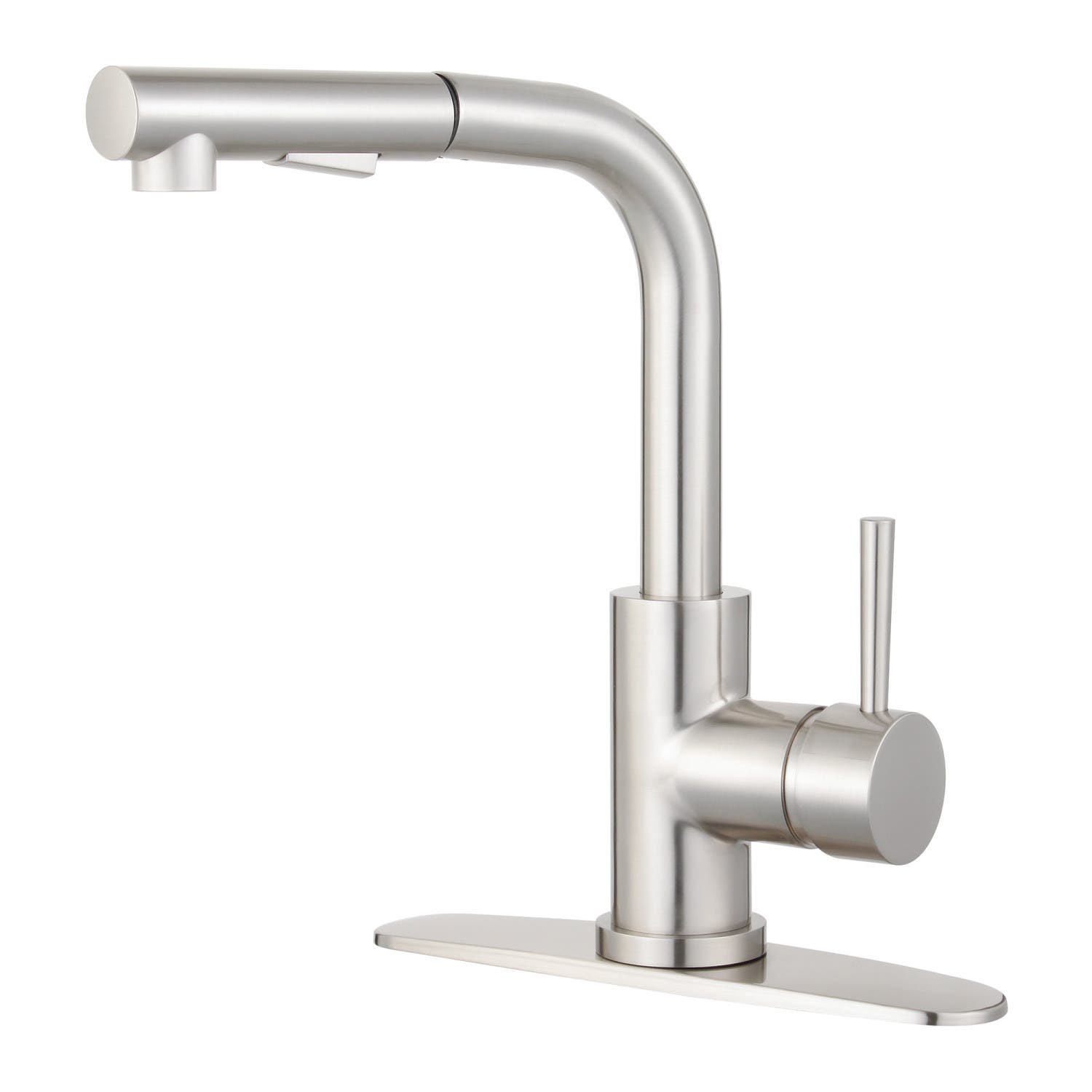 Gourmetier LS2718DL Concord Single Handle Kitchen Faucet With Pull Out  Sprayer, Brushed Nickel
