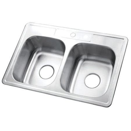 "Gourmetier GKTD332291 33""x22""x9"" Self-Rimming Stainless Steel Kitchen Sink, Brushed"