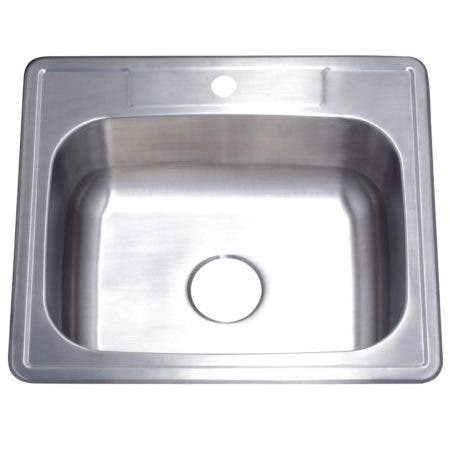 "Gourmetier GKTS252291 25""x22""x9"" Self-Rimming Single Bowl Kitchen Sink (1 Hole), Brushed"