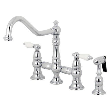 Kingston Brass KS3271PLBS Restoration 8-Inch Bridge Kitchen Faucet with Sprayer, Polished Chrome