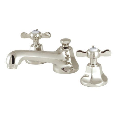 Kingston Brass KS4466BEX Essex 8-Inch Widespread Lavatory Faucet with Brass Pop-Up, Polished Nickel