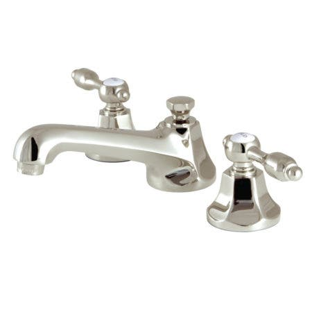 Kingston Brass KS4466TAL Tudor 8-Inch Widespread Lavatory Faucet with Brass Pop-Up, Polished Nickel