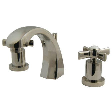 Kingston Brass KS4986ZX Millennium 8-Inch Widespread Lavatory Faucet with Brass Pop-Up, Polished Nickel
