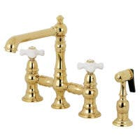 Kingston Brass KS7272PXBS English Country 8-Inch Bridge Kitchen Faucet with Sprayer, Polished Brass