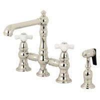 Kingston Brass KS7276PXBS English Country 8-Inch Bridge Kitchen Faucet with Sprayer, Polished Nickel