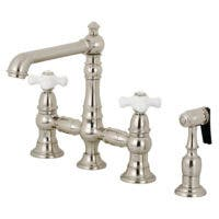 Kingston Brass KS7278PXBS English Country 8-Inch Bridge Kitchen Faucet with Sprayer, Brushed Nickel