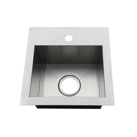 Gourmetier GKDS151581 15-Inch Single Bowl Dual Mount Drop-In or Undermount Bar Sink, Brushed