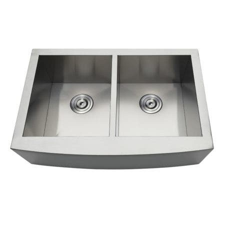 Gourmetier GKTDF30209 Uptowne Drop-In Stainless Steel Double Bowl Farmhouse Kitchen Sink, Brushed