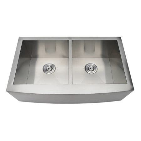 Gourmetier GKTDF33209 Uptowne Drop-In Stainless Steel Double Bowl Farmhouse Kitchen Sink, Brushed