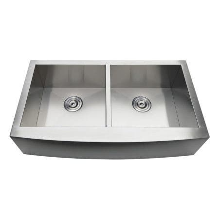 Gourmetier GKTDF36209 Uptowne Drop-In Stainless Steel Double Bowl Farmhouse Kitchen Sink, Brushed