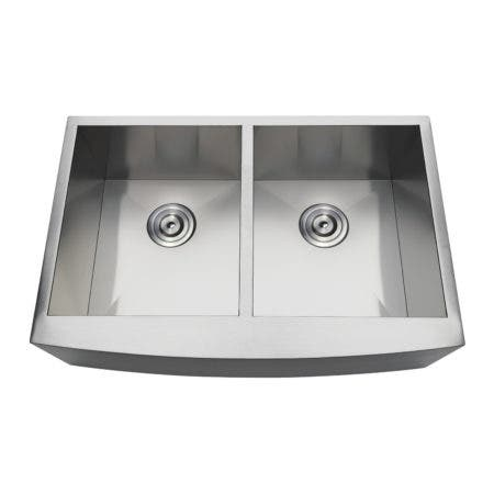 Gourmetier GKUDF30209 Undermount Stainless Steel Double Farmhouse Kitchen Sink, Brushed