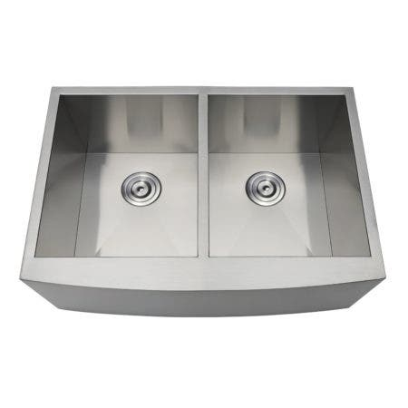 Gourmetier GKUDF302110 Undermount Stainless Steel Double Farmhouse Kitchen Sink, Brushed