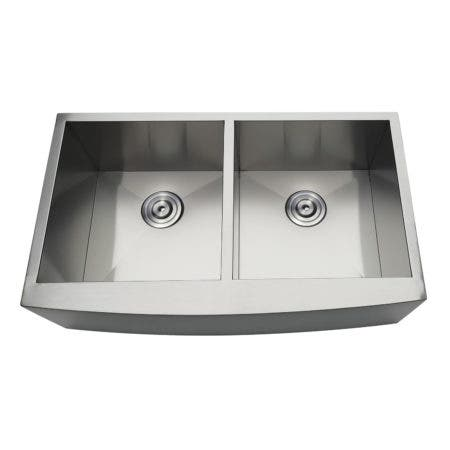 Gourmetier GKUDF33209 Uptowne Undermount Stainless Steel Double Bowl Farmhouse Kitchen Sink, Brushed