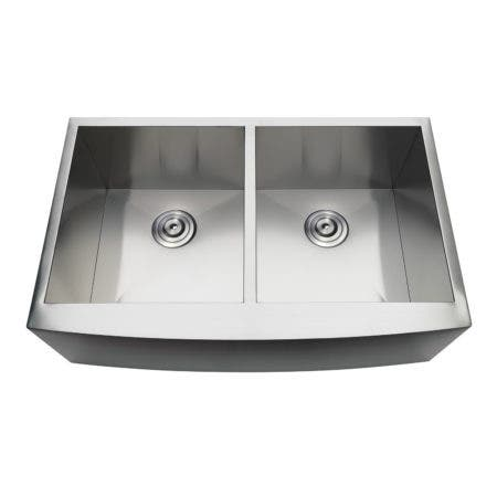 Gourmetier GKUDF332110 Undermount Stainless Steel Double Farmhouse Kitchen Sink, Brushed