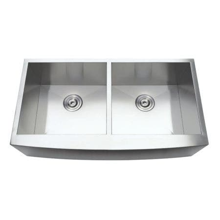 Gourmetier GKUDF36209 Uptowne Undermount Stainless Steel Double Bowl Farmhouse Kitchen Sink, Brushed