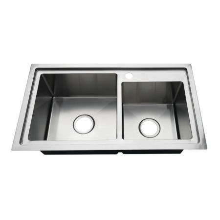 """Gourmetier KDS321891DBNL 32"""" Drop-In Double Bowl 18-Gauge Kitchen Sink (1 Hole), Brushed"""