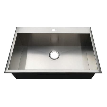Gourmetier KDS322191BN 32-Inch Drop-In Single Bowl 18-Gauge Kitchen Sink (1 Hole), Brushed