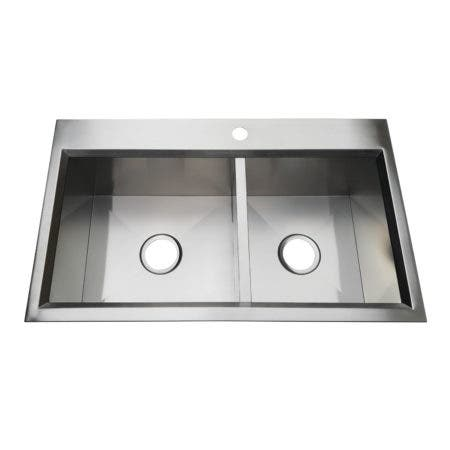 Gourmetier KDS332091DBNL 33-Inch Drop-In Double Bowl 18-Gauge Kitchen Sink (1 Hole), Brushed