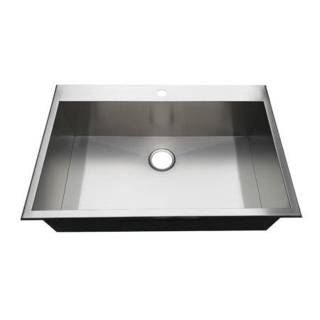 Gourmetier KDS332291BN 33-Inch Drop-In Single Bowl 18-Gauge Kitchen Sink (1 Hole), Brushed