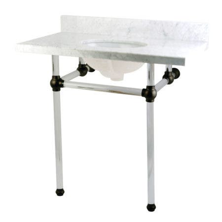 "Kingston Brass KVPB36MA0 Templeton 36"" x 22"" Carrara Marble Vanity Top with Clear Acrylic Console Legs, Carrara Marble/Matte Black"