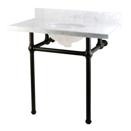 "Kingston Brass KVPB36MB0 Templeton 36"" x 22"" Carrara Marble Vanity Top with Brass Console Legs, Carrara Marble/Matte Black"