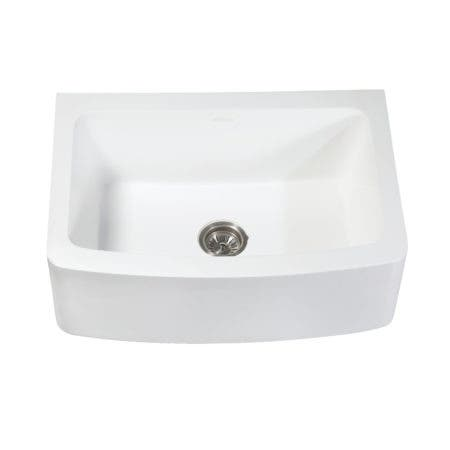 "Gourmetier GKFA30229 Arcticstone Solid Surface 30x22"" Apron Front Farmhouse Single Bowl Kitchen Sink, Matte White"