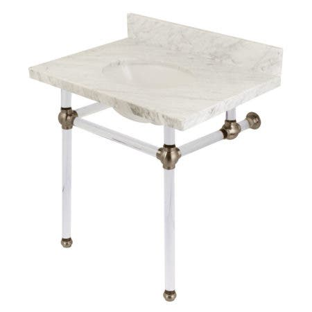 """Kingston Brass KVPB3030MA8 Templeton 30"""" x 22"""" Carrara Marble Vanity Top with Clear Acrylic Console Legs, Carrara Marble/Brushed Nickel"""