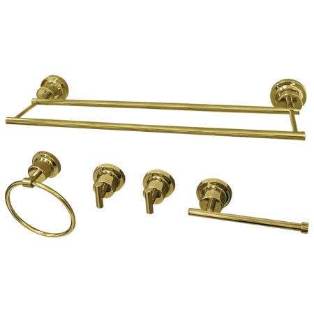Kingston Brass BAH821318478PB Concord 5-Piece Bathroom Accessory Set, Polished Brass