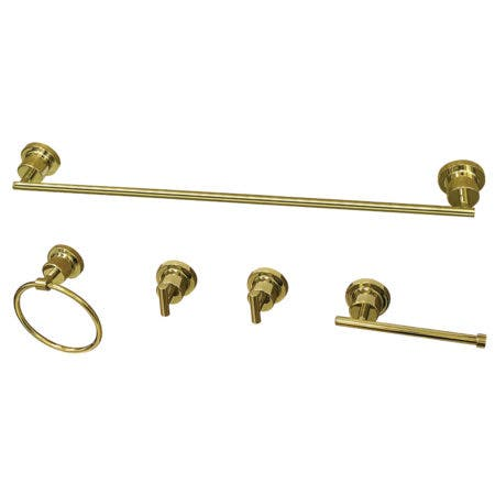 Kingston Brass BAH8230478PB Concord 5-Piece Bathroom Accessory Set, Polished Brass