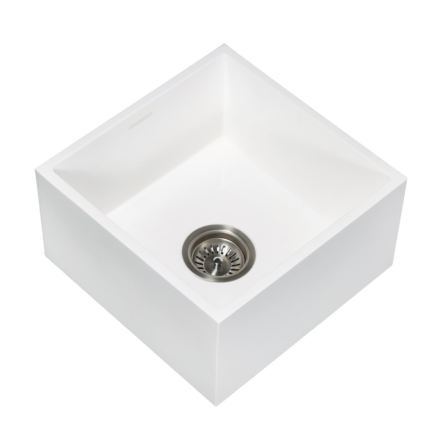 Gourmetier Gkusa15158 Arcticstone Solid Surface Undermount 15 Square Single Bowl Bar Sink With Drain