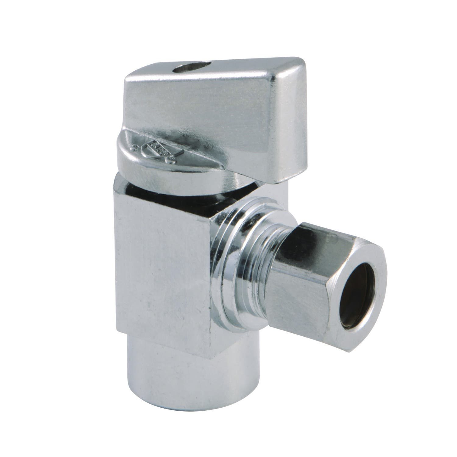 "Kingston Brass KF33101CTL Columbia 3/8""IPS x 3/8""O.D Compression 1/4 Turn Angle Stop Valve, Polished Chrome"