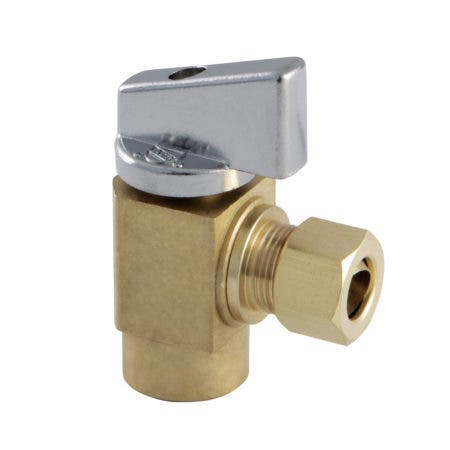 "Kingston Brass KF33104CTL 3/8"" IPS x 3/8"" O.D Comp Quarter Turn Angle Stop Valve, Raw Brass"
