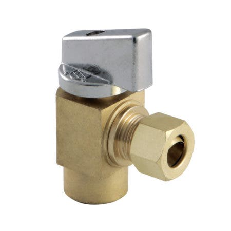 "Kingston Brass KF43204CTL 1/2"" Sweat x 3/8"" O.D Comp Angle Stop Valve, Raw Brass"