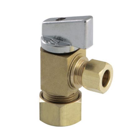 "Kingston Brass KF53304CTL 5/8""O.D x 3/8""O.D. Compression Quarter Turn Angle Stop Valve, Raw Brass"