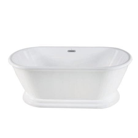 Aqua Eden VTDE602824 60-Inch Acrylic Double Ended Pedestal Tub with Square Overflow and Pop-Up Drain, White